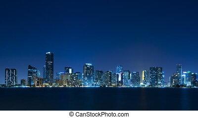 Time lapse of Miami skyline - long
