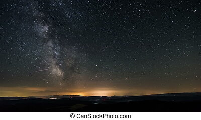 Time lapse of milky way galaxy. Stars moving in starry night