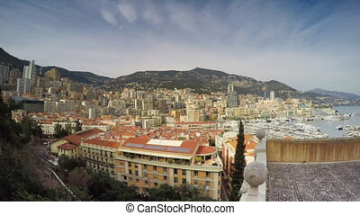 time lapse of Monaco, Monte Carlo, with clouds billowing...