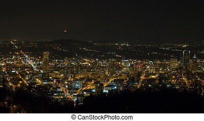 Time Lapse of Moonrise Over City