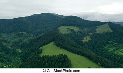 Time lapse of mountain summer scene, aerial landscape after ...