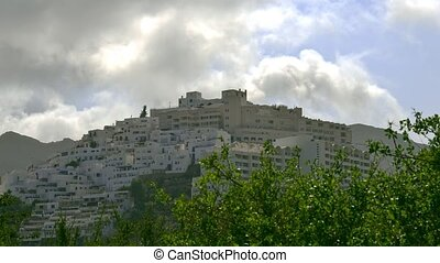 Time lapse of mountainous Spanish town in Andalusia and...