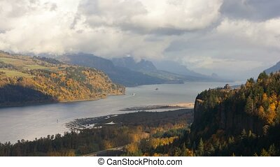 Time lapse of moving clouds over Columbia River Gorge in Portland Oregon UHD 4k