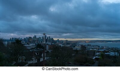 Time lapse of moving clouds over Seattle WA from blue hour...