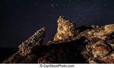 Time lapse of moving stars over the mountain