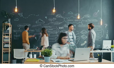 Time lapse of multi-ethnic team of young people working in open space office talking using computers writing on chalkboard wall. Teamwork and workplace concept.