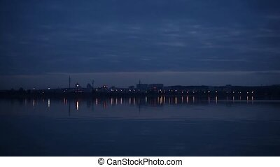 Time lapse of nightfall in a city