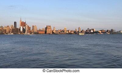 Time Lapse of NY skyline from NJ - Shot of Time Lapse of NY...
