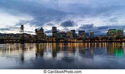 Time lapse of over Portland Oregon evening 4k uhd