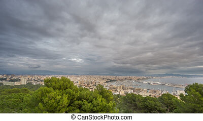 Time Lapse of Palma city with dark clouds, Spain - Wide...