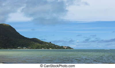 Time lapse of panorama at Praslin island, Seychelles