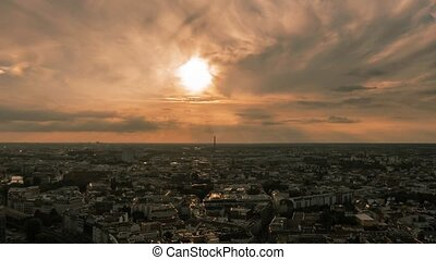 Time Lapse of Panoramic view on Berlin from 37th floor at picturesque sunset.