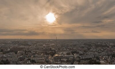 Time Lapse of Panoramic view on Berlin at sunset.