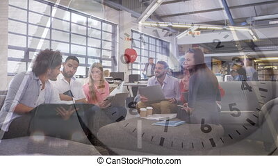 Time lapse of people in an office and a busy street