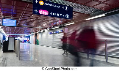 Time lapse of people travelers walking in the international airport.
