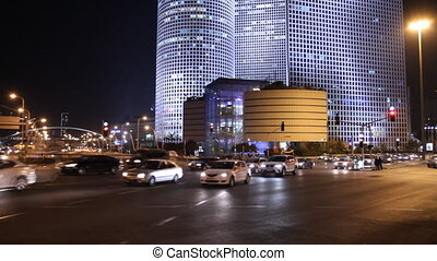 Tel Aviv at night - Time lapse of road traffic in Tel Aviv...