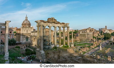 Time lapse of Roman Forum in Rome , Italy . Roman Forum was build in time of Ancient Rome as the site of triumphal processions and elections. It is famous tourist attraction of Rome , Italy .