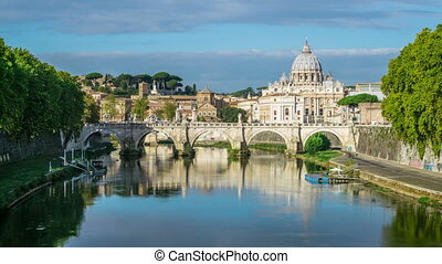 Time lapse of Rome Skyline with Vatican St Peter Basilica and St Angelo Bridge crossing Tiber River in the city center of Rome Italy , historical landmarks of the Ancient Rome , travel destination.