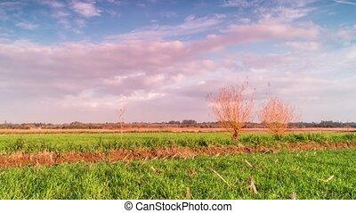Time lapse of rural landscape at sunset