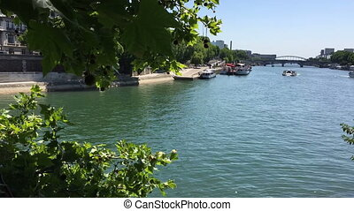 Time lapse of Seine river in Paris - Shot of Time lapse of...