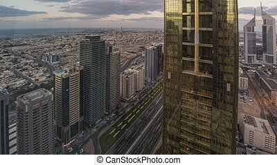 Time lapse of Sheik Zayed Road in Dubai during sunset in November 2019