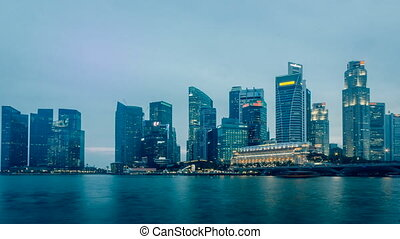 Singapore Marina Bay skyline - Time lapse of Singapore...