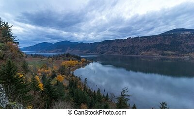 Time lapse of sky along Columbia River Gorge in Hood River OR fall at blue hour