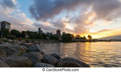 Time lapse of sky over Vancouver BC at Crab Park from sunset...