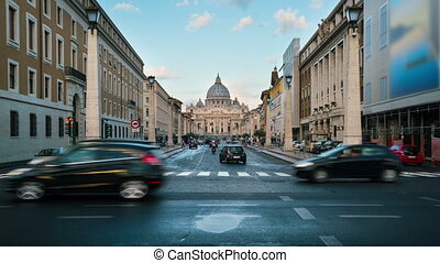 Time lapse of St Peter 's Basilica in Vatican , Rome , Italy . St. Peter's is a church built in the Renaissance style located in the Vatican City . Italian famous landmark of Vatican and Rome .