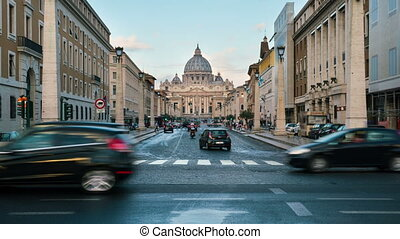 Time lapse of St Peter Basilica in Vatican , Rome