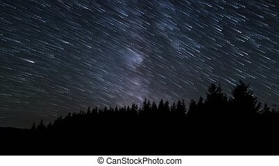 Star trails in the night sky