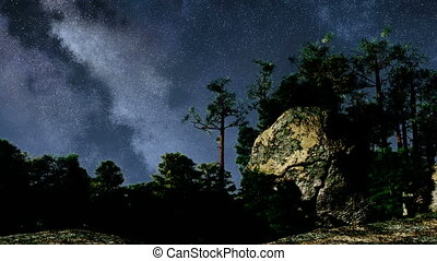 TIme Lapse of Stars and Silhouetted
