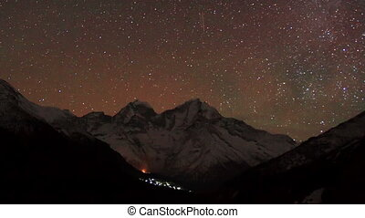 Time lapse of stars behind mountain