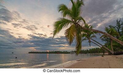 Time lapse of sunrise over ocean beach in Dominican Republic