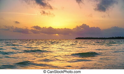 Time lapse of sunrise over ocean in Dominican Republic