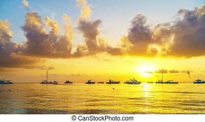 Time lapse of sunrise over ocean in Dominican Republic -...