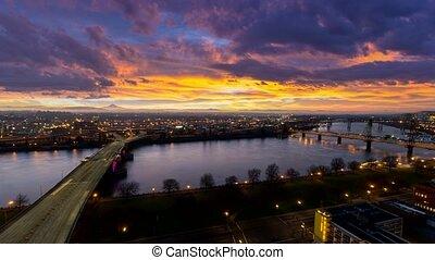 Time Lapse of Sunrise Portland OR