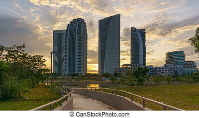 Time lapse of sunset at Putrajaya, Malaysia with government ministry buildings