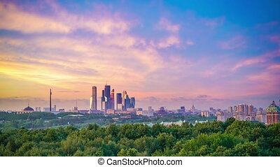 Time lapse of sunset over Moscow - Time lapse of vibrant...
