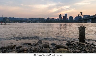 Time Lapse of Sunset Portland OR