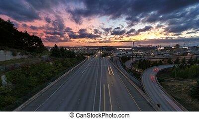 Time Lapse of Sunset Seattle WA 4k - Ultra High Definition...