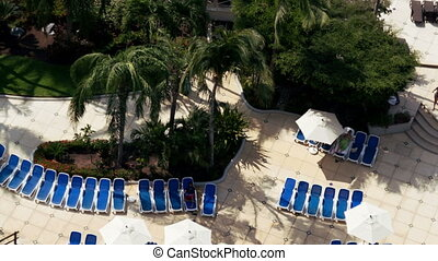 time-lapse of swimming pool in a luxury hotel, shot from a high floor balcony in acapulco, mexico