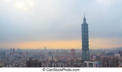 time lapse of Taipei city evenin