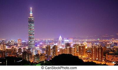 Taipei - Time lapse of Taipei, Taiwan at night.