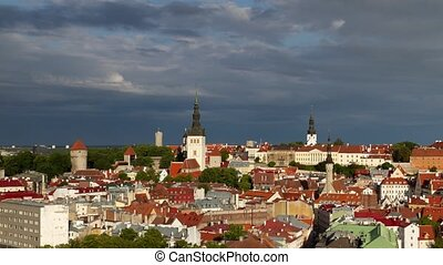 Time lapse of Tallinn old town in the morning