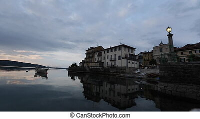 Time Lapse of the Arona City, From the River in Italy