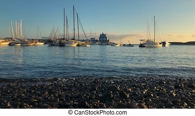 Time lapse of the boats and yachts, attached to the pier at...