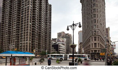 time-lapse of the flatiron building in new york
