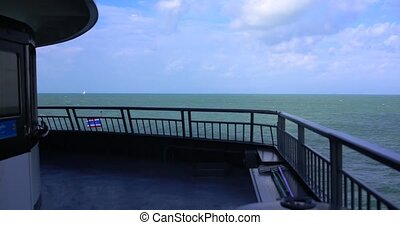 Time lapse of the front view of the ferry boat traveling...