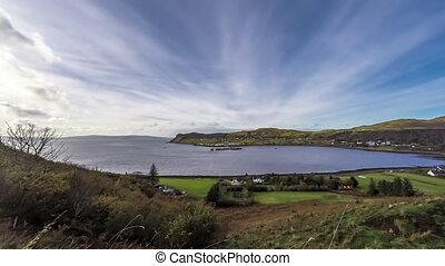 Time lapse of the Harbor village Uig with the outer hebrides...